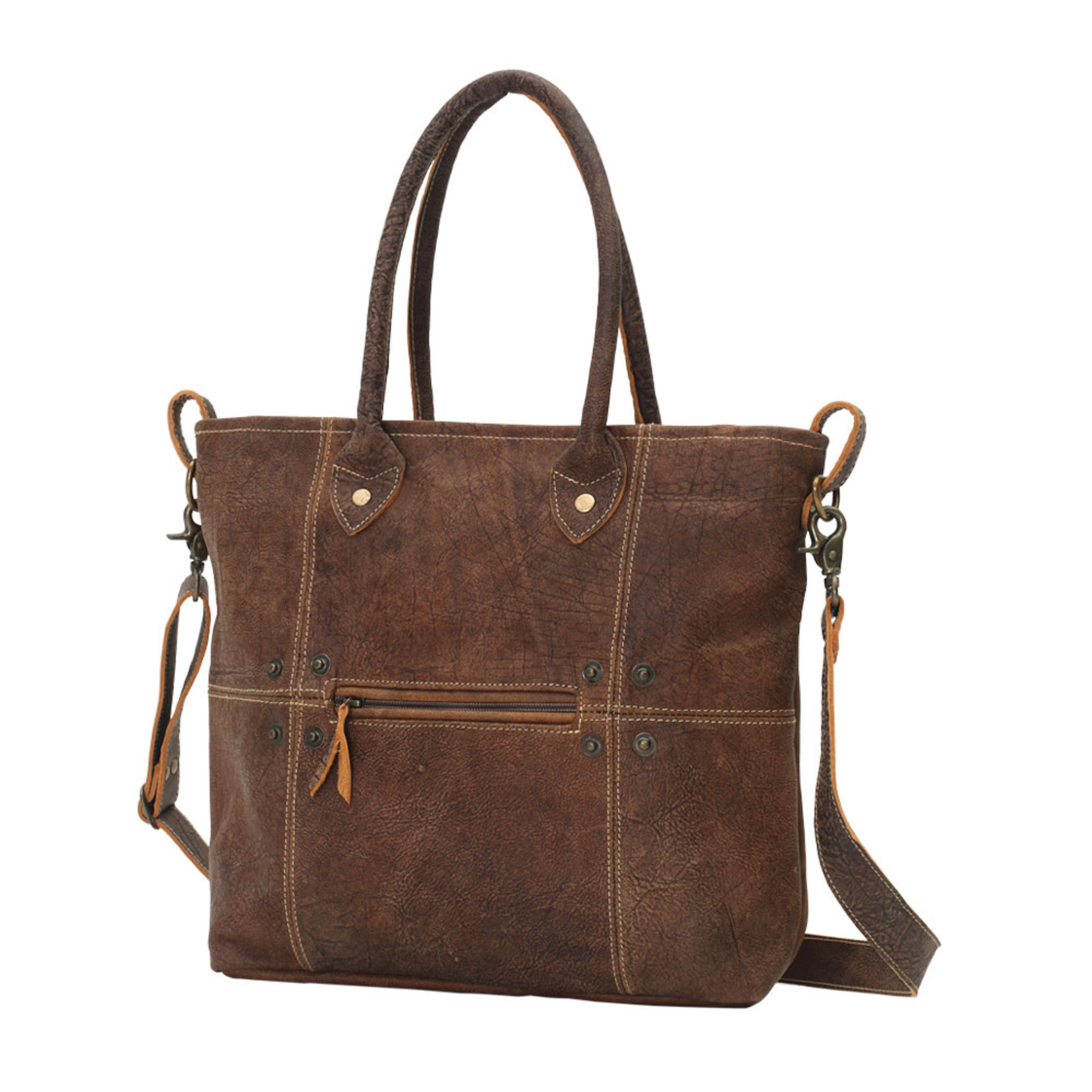 Myra Bags S-0727 Button & Stitches Leather Tote