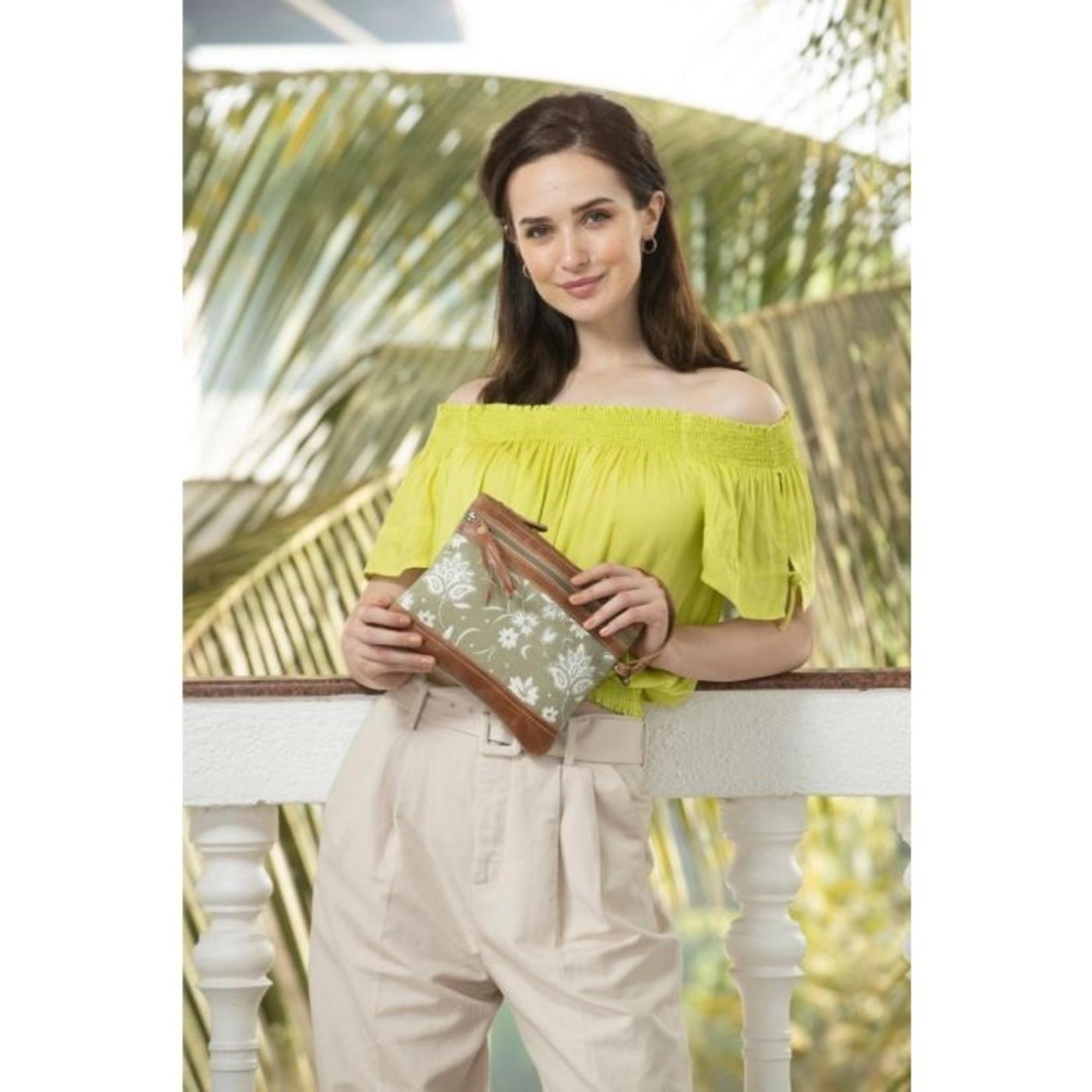Myra Bags S-1599 Green N Tan Pouch Wristlet