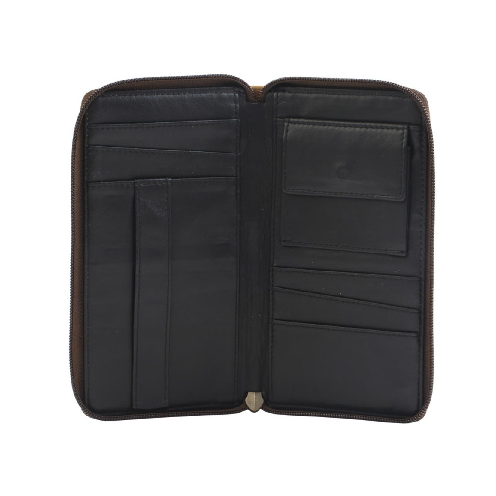 Myra Bags S-2706 Tan Fan Leather Wallet