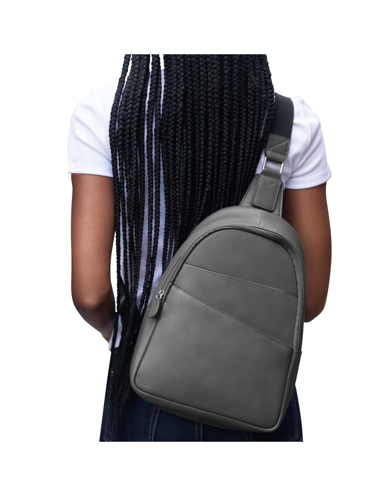 Leather Handbags and Accessories 6507 Gray - Sling Backpack