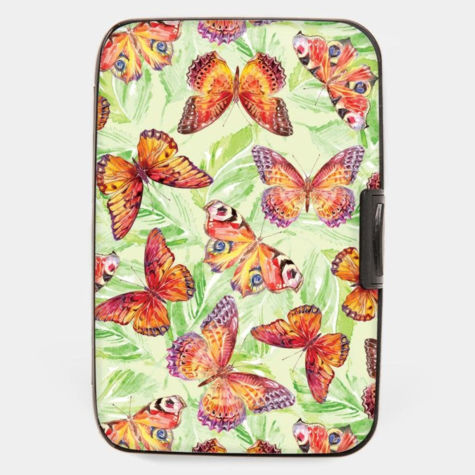 Monarque Armored Wallet - Butterflies Orange With Green Backdrop