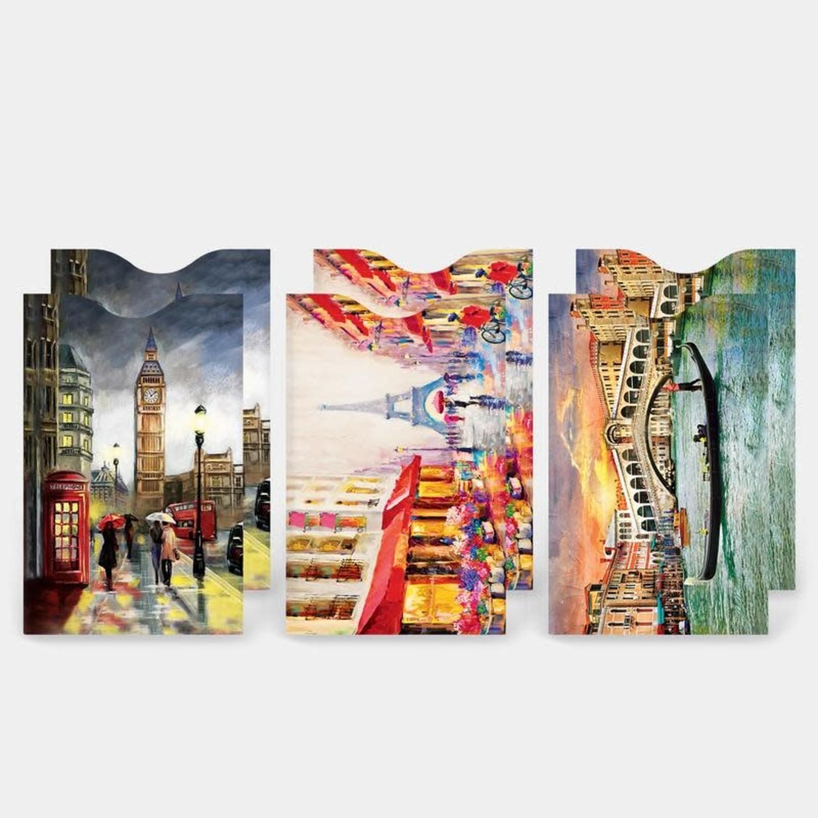 Monarque Set of 6 - Travel Destinations Credit Card Sleeves