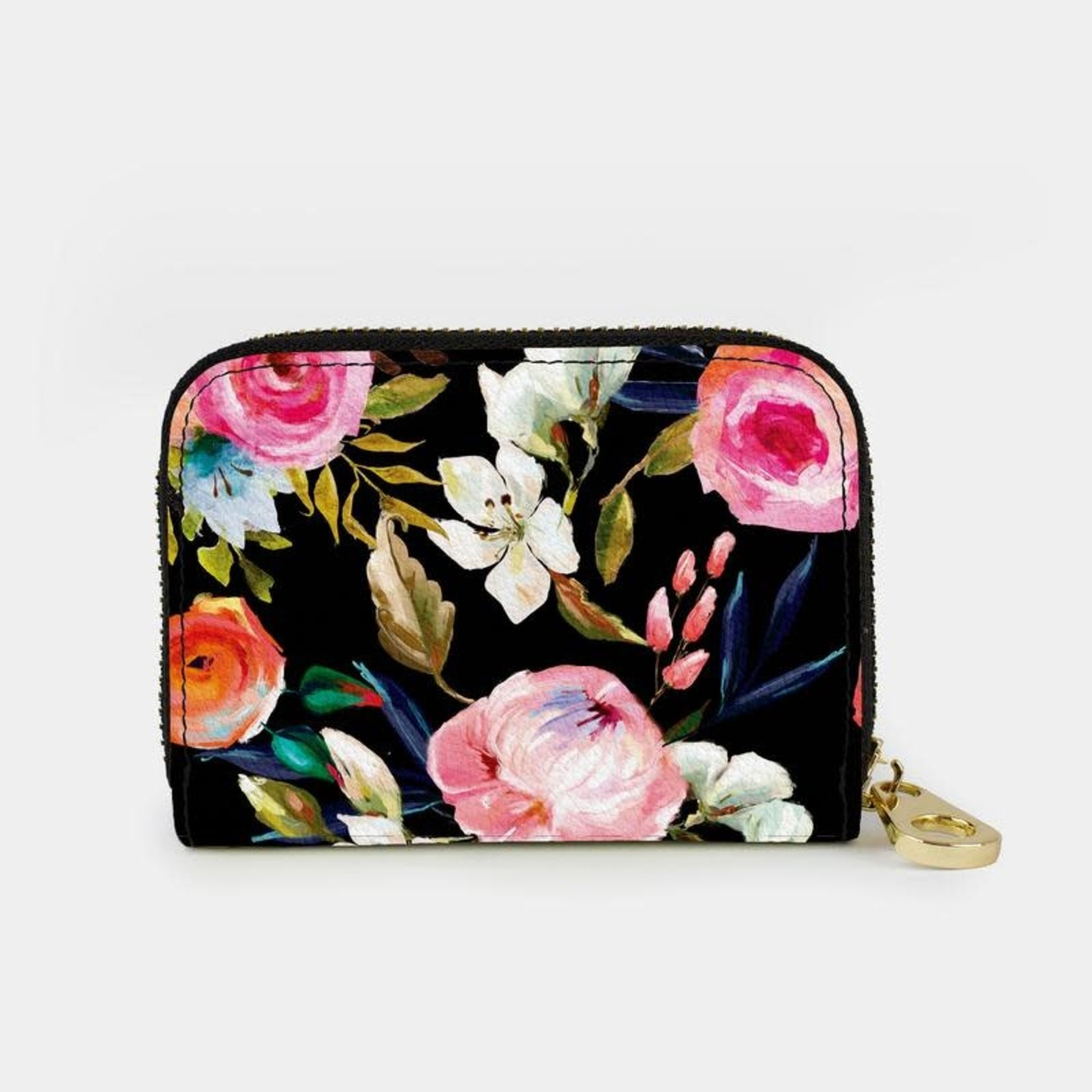 Monarque Zippered Wallet - Florals on Black