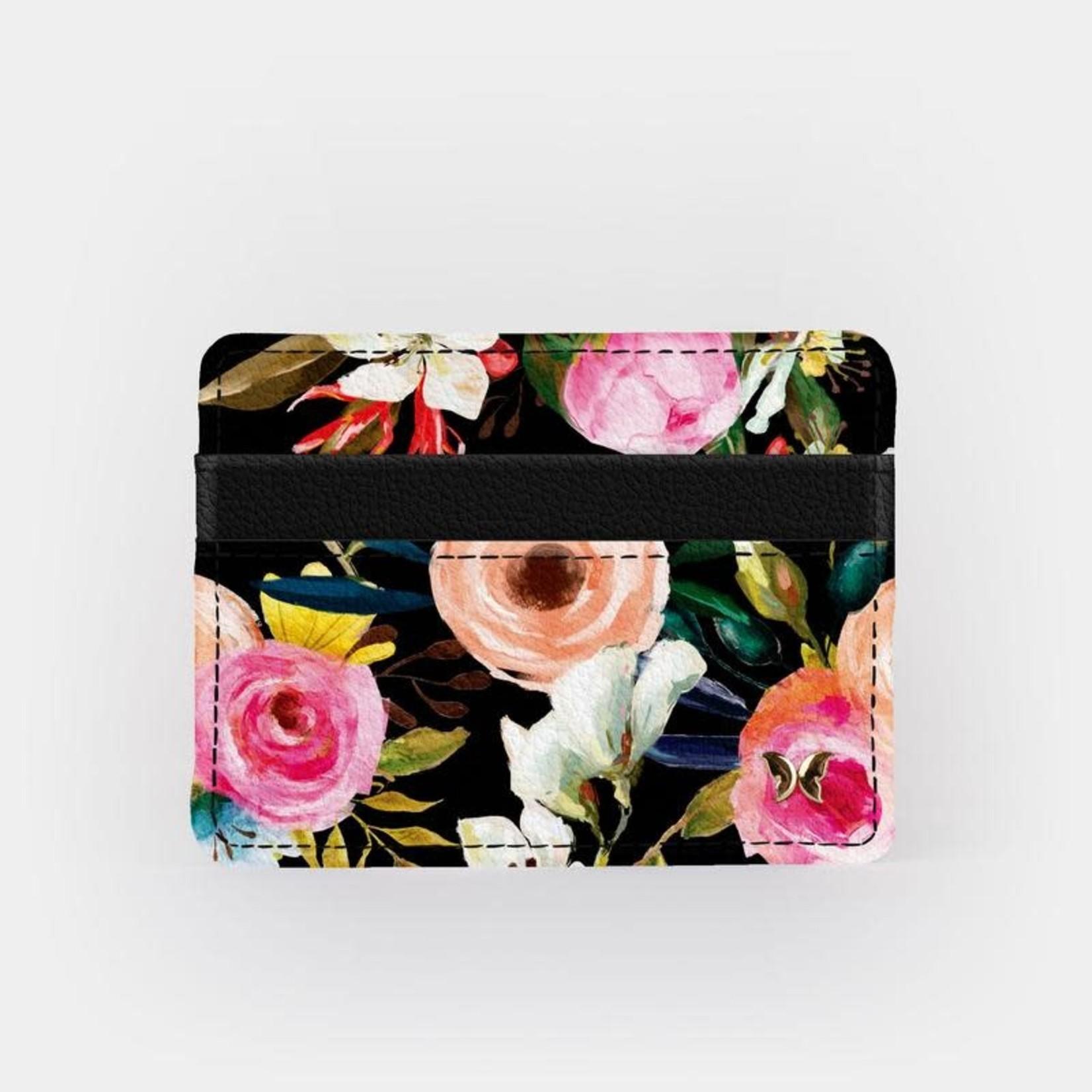 Monarque Slim Wallet - Floral on Black