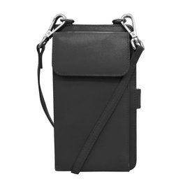 Leather Handbags and Accessories 6363 Black - RFID Organizer Crossbody