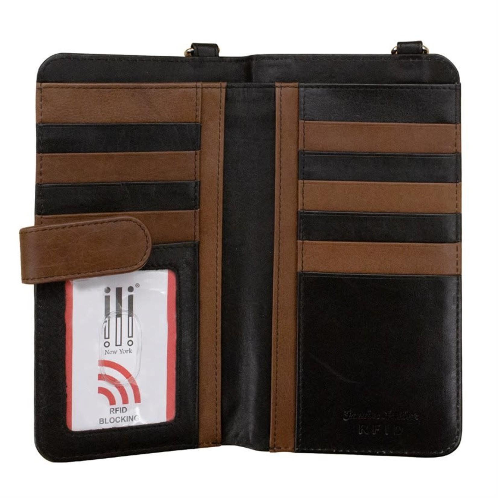 Leather Handbags and Accessories 6363 Toffee/Black - RFID Organizer Crossbody