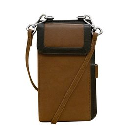 Leather Handbags and Accessories 6363 Toffee/Black - RFID Organizer Crossbody