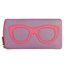 Leather Handbags and Accessories 6462 Amethyst/Hot Pink - Leather Eyeglass Case