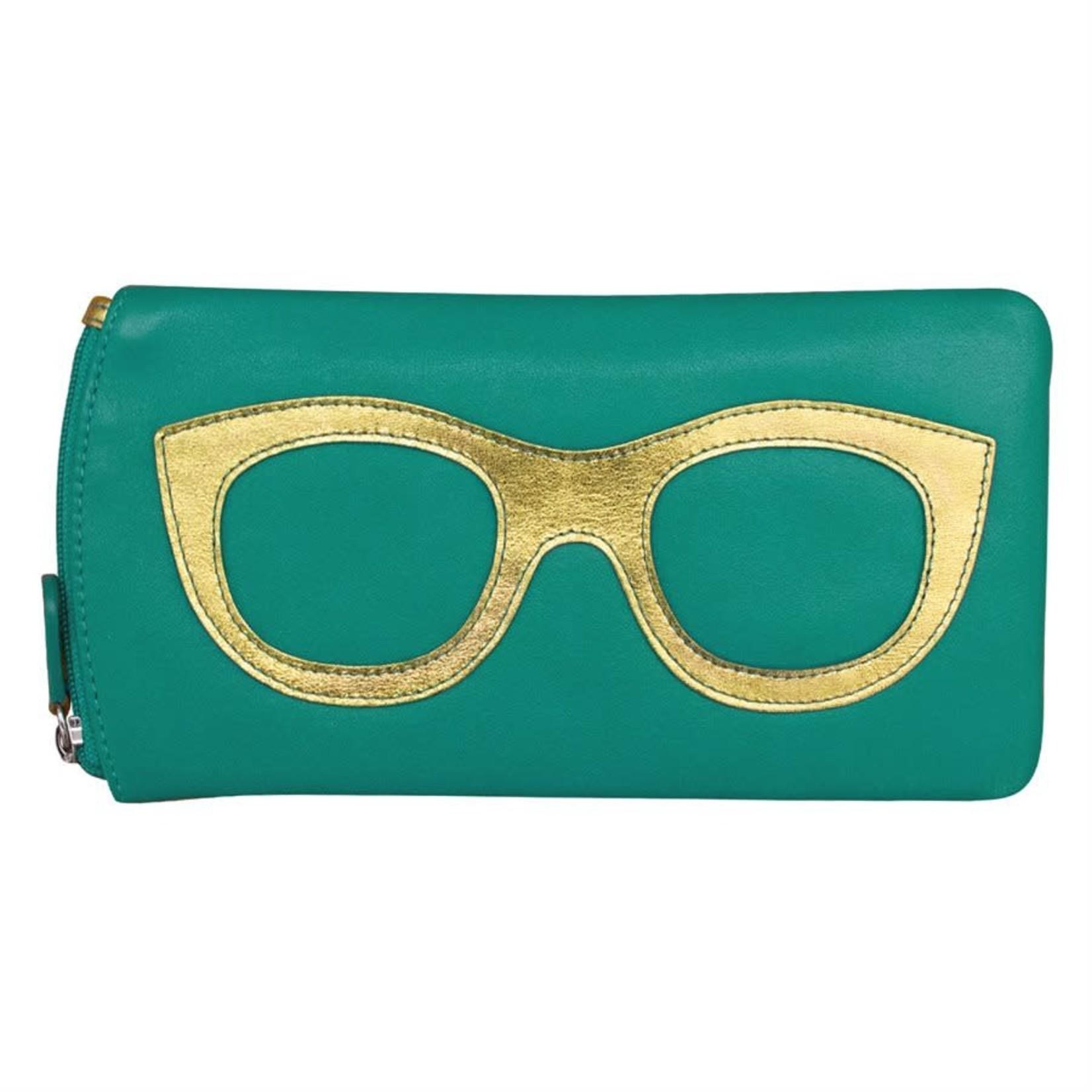 Leather Handbags and Accessories 6462 Aqua/Metallic Gold - Leather Eyeglass Case