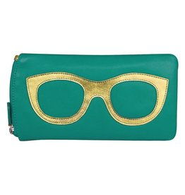 Leather Handbags and Accessories 6462 Aqua/Metallic Gold - Leather Eyeglass Case