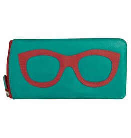 Leather Handbags and Accessories 6462 Aqua/Red - Leather Eyeglass Case