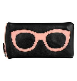 Leather Handbags and Accessories 6462 Black/Pastel Pink - Leather Eyeglass Case