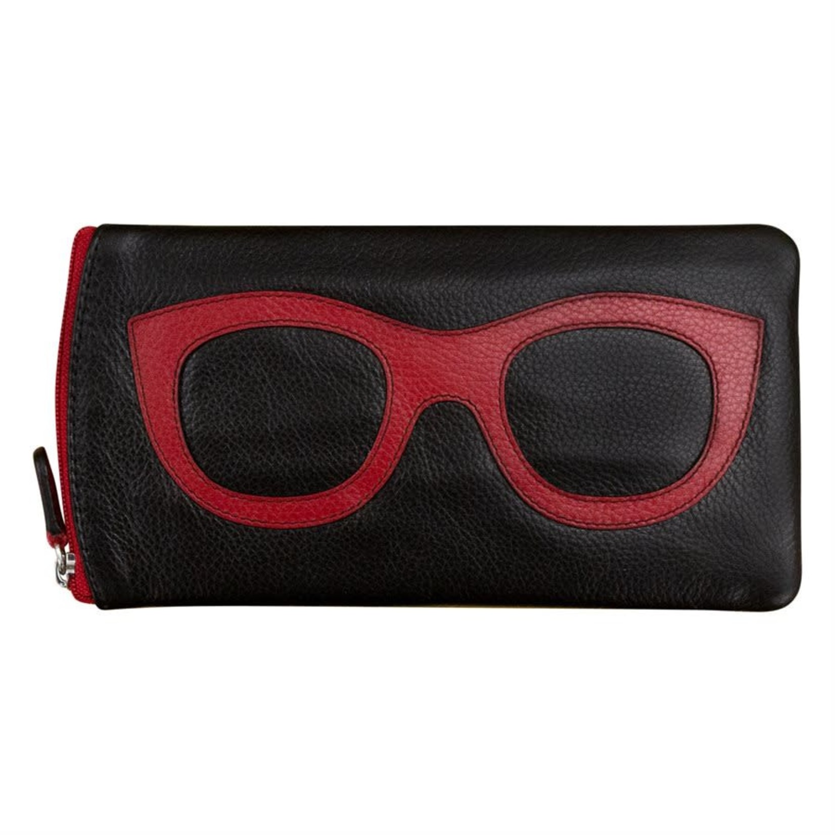 Leather Handbags and Accessories 6462 Black/Red - Leather Eyeglass Case