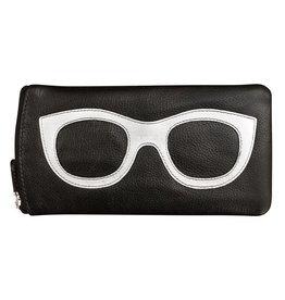 Leather Handbags and Accessories 6462 Black/Silver - Leather Eyeglass Case
