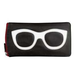 Leather Handbags and Accessories 6462 Black/White/Red - Leather Eyeglass Case