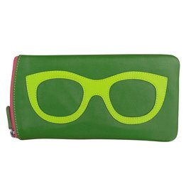 Leather Handbags and Accessories 6462 Emerald/Leaf/Hot Pink - Leather Eyeglass Case