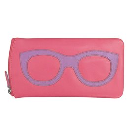 Leather Handbags and Accessories 6462 Hot Pink/Amethyst - Leather Eyeglass Case