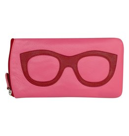 Leather Handbags and Accessories 6462 Hot Pink/Red - Leather Eyeglass Case