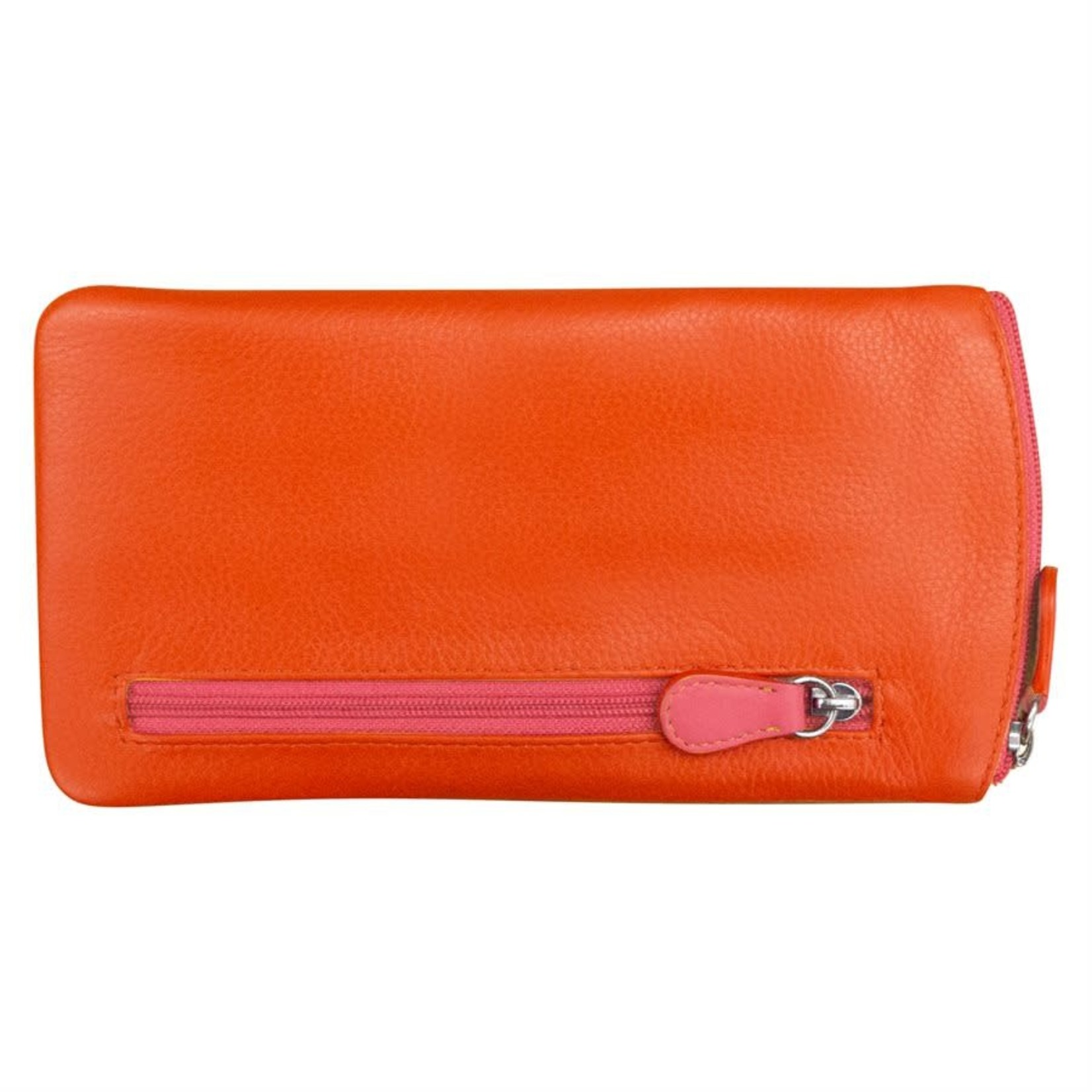 Leather Handbags and Accessories 6462 Orange/Hot Pink - Leather Eyeglass Case