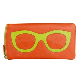 Leather Handbags and Accessories 6462 Orange/Leaf - Leather Eyeglass Case