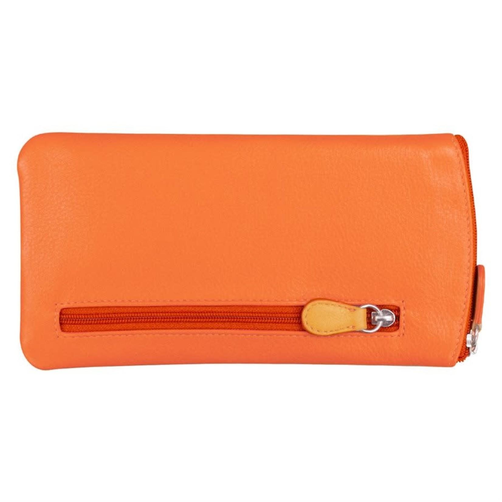 Leather Handbags and Accessories 6462 Papaya/Orange - Leather Eyeglass Case