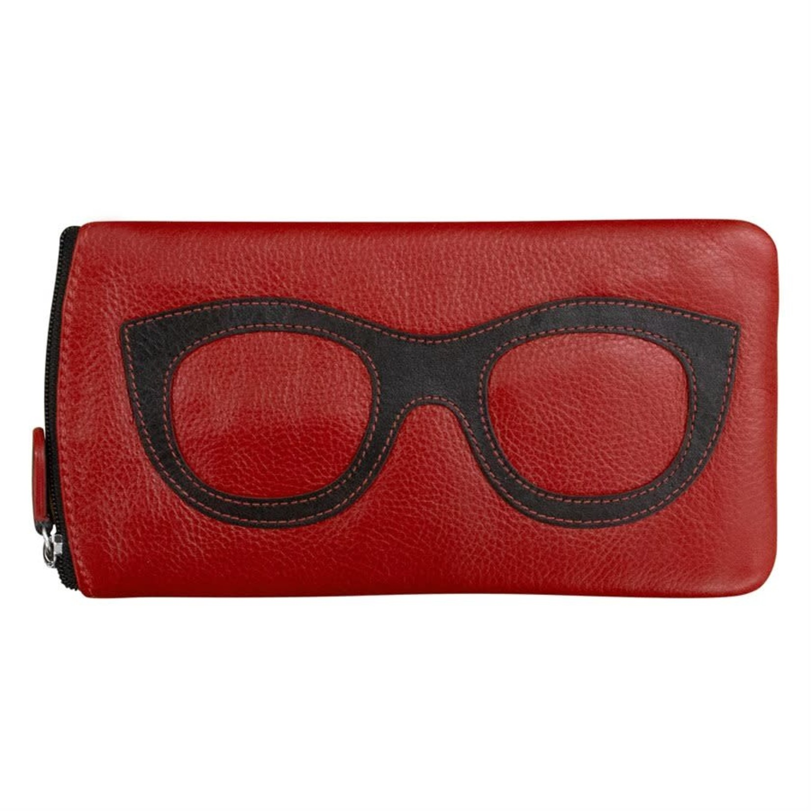 Leather Handbags and Accessories 6462 Red/Black - Leather Eyeglass Case