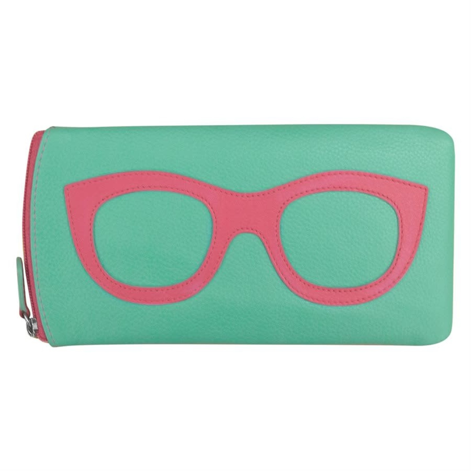 Leather Handbags and Accessories 6462 Turquoise/Hot Pink - Leather Eyeglass Case