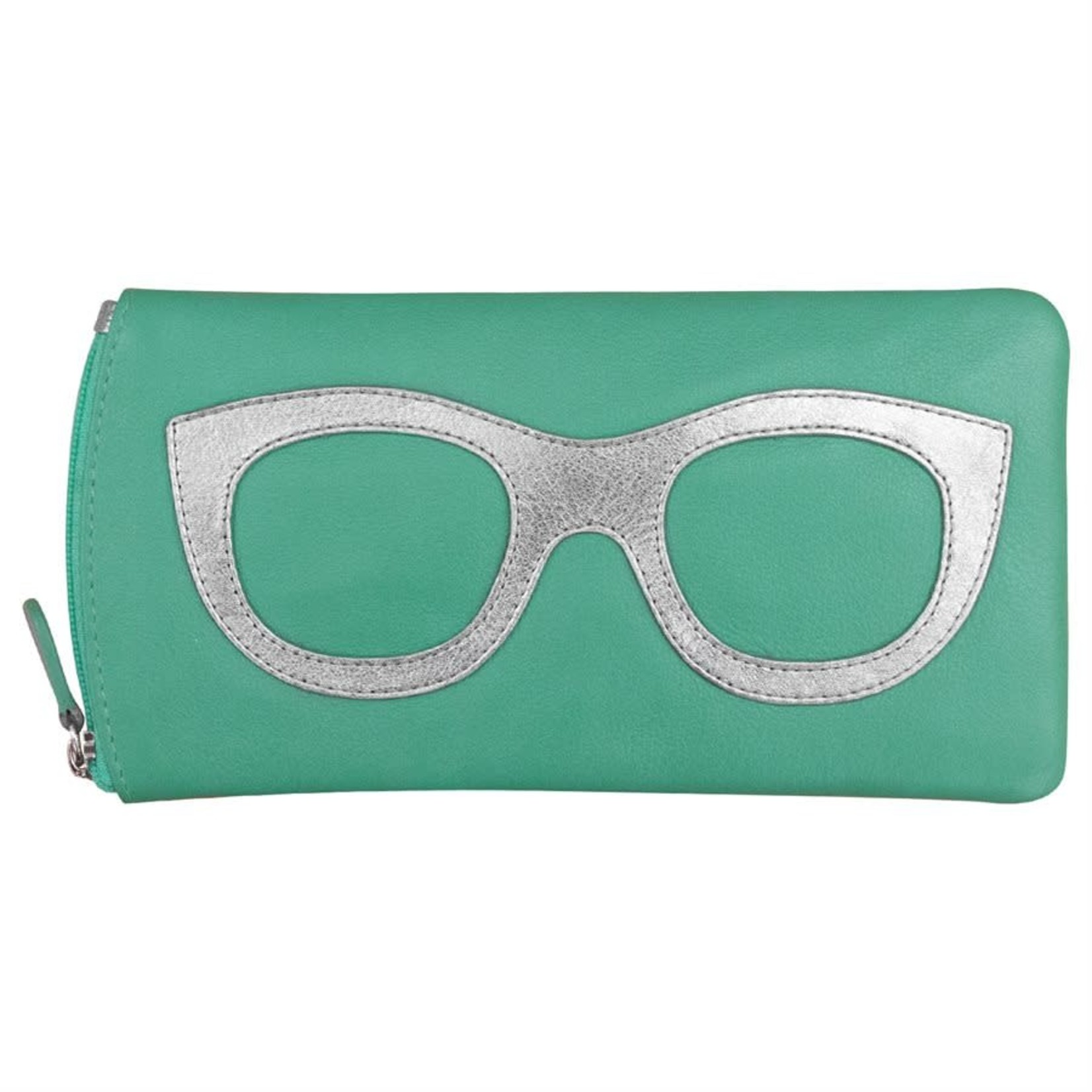 Leather Handbags and Accessories 6462 Turquoise/Metallic Silver - Leather Eyeglass Case
