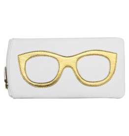 Leather Handbags and Accessories 6462 White/Gold - Leather Eyeglass Case
