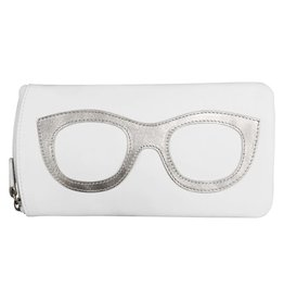 Leather Handbags and Accessories 6462 White/Silver - Leather Eyeglass Case