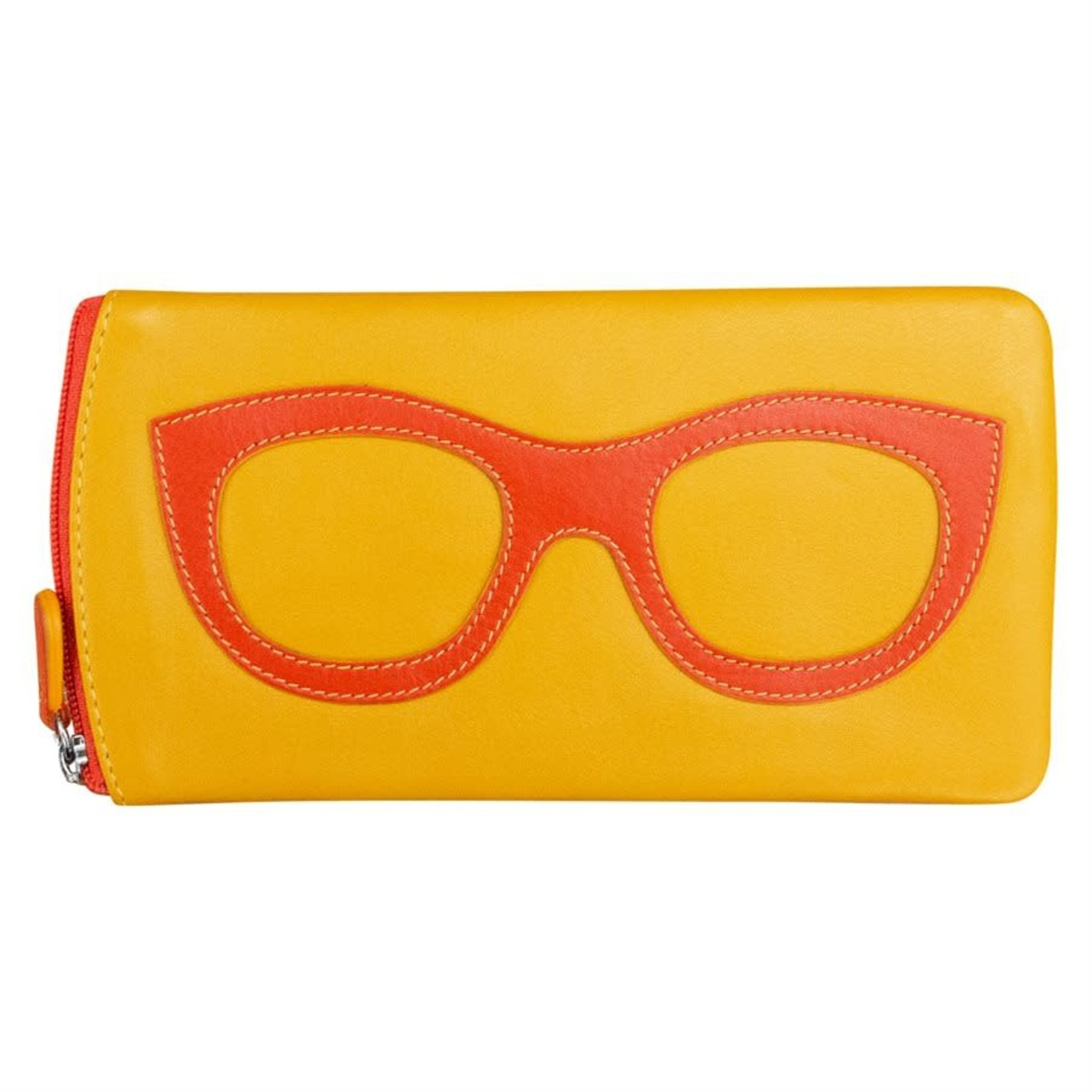 Leather Handbags and Accessories 6462 Yellow/Orange - Leather Eyeglass Case