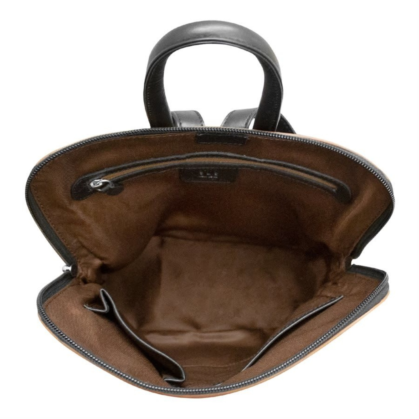 Leather Handbags and Accessories 6503 Toffee/Black - Small Backpack