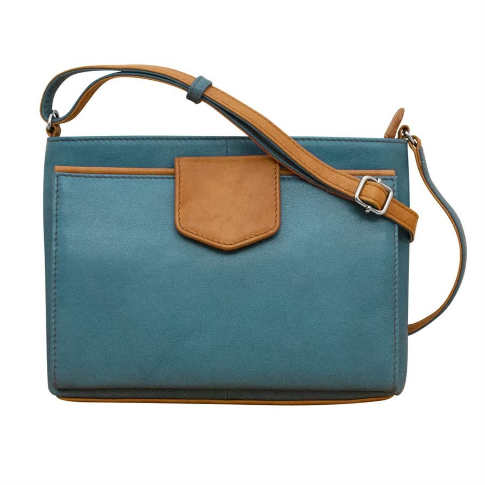 Leather Handbags and Accessories 6592 Jeans Blue/Antique Saddle - Organizer Crossbody