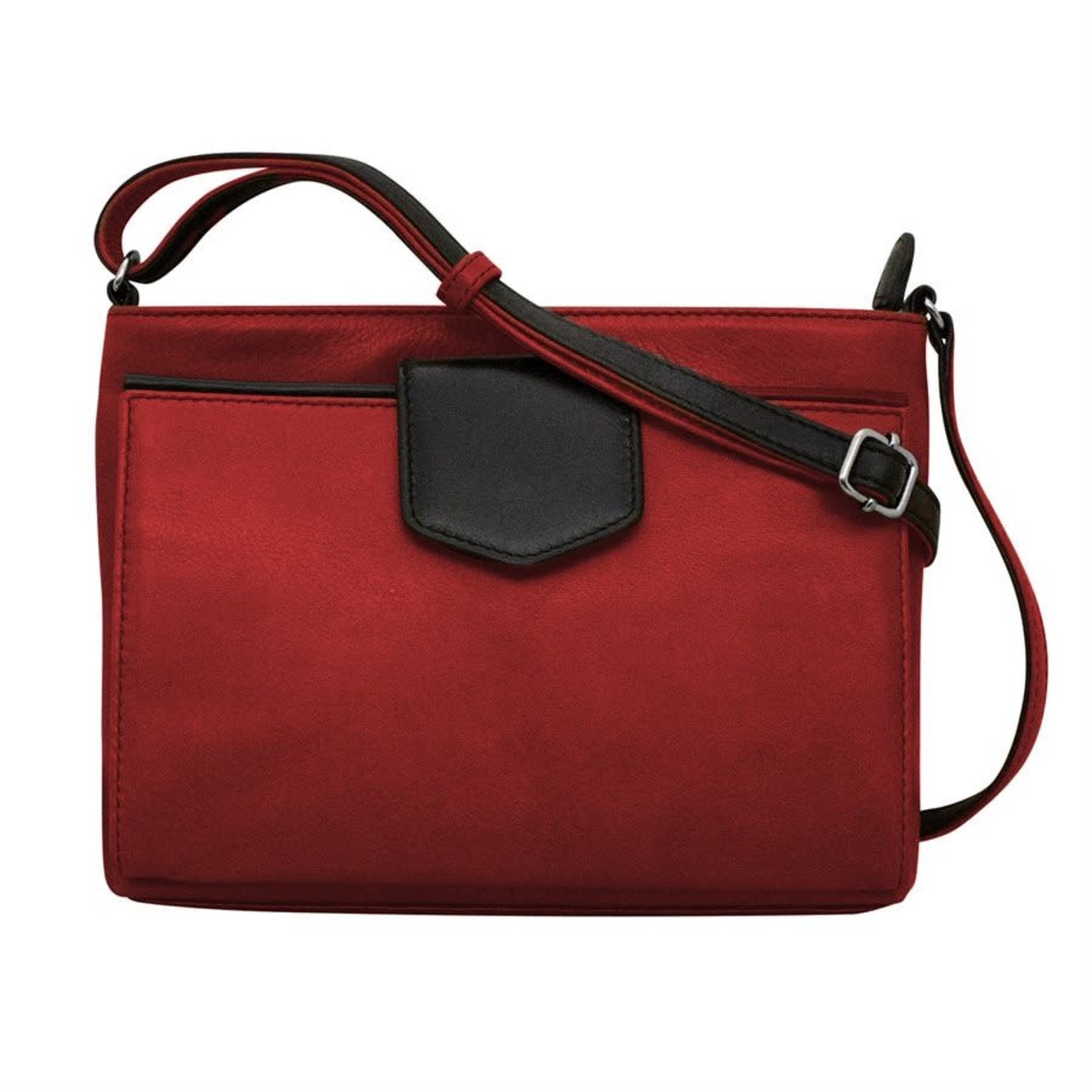 Leather Handbags and Accessories 6592 Red/Black - Organizer Crossbody