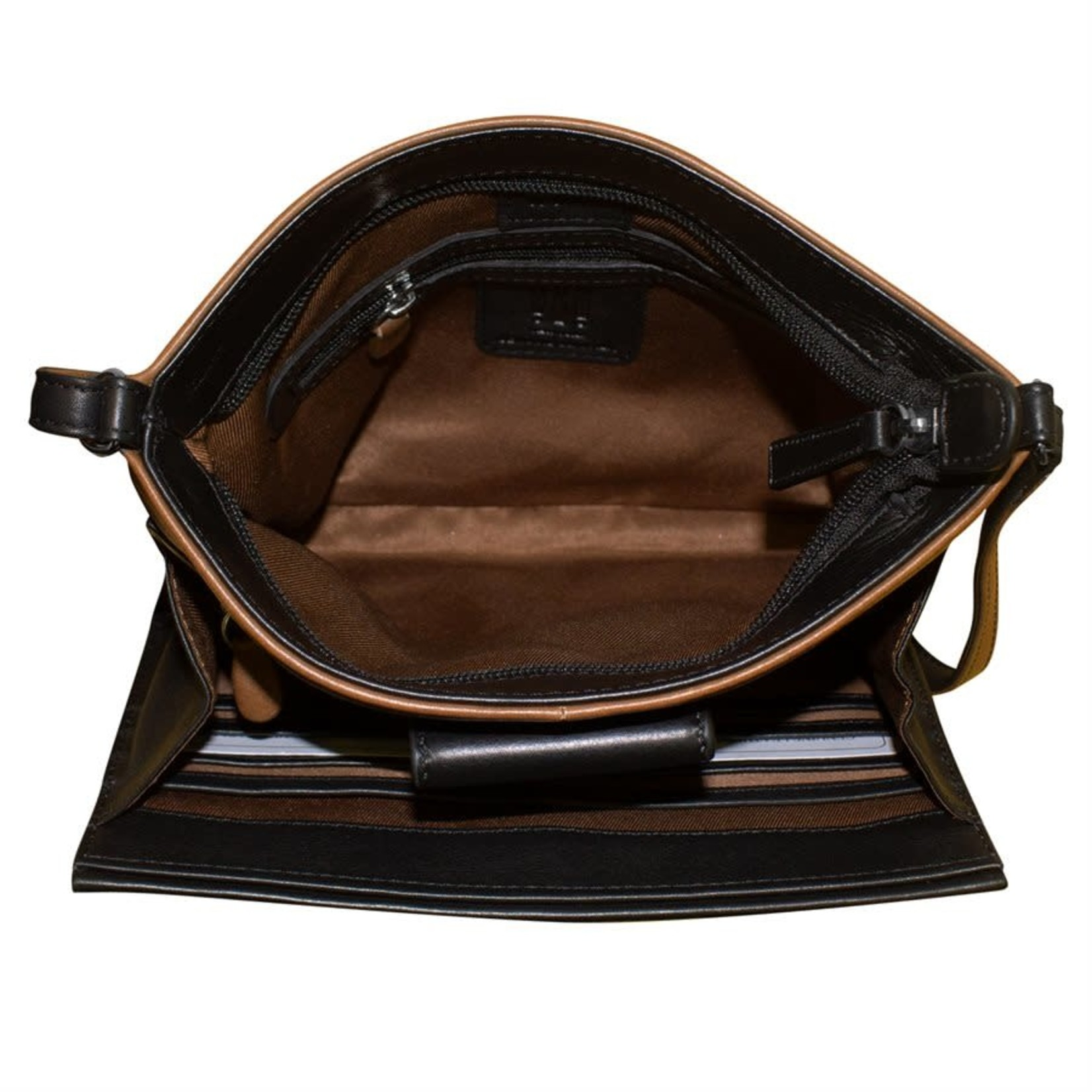 Leather Handbags and Accessories 6592 Toffee/Black - Organizer Crossbody