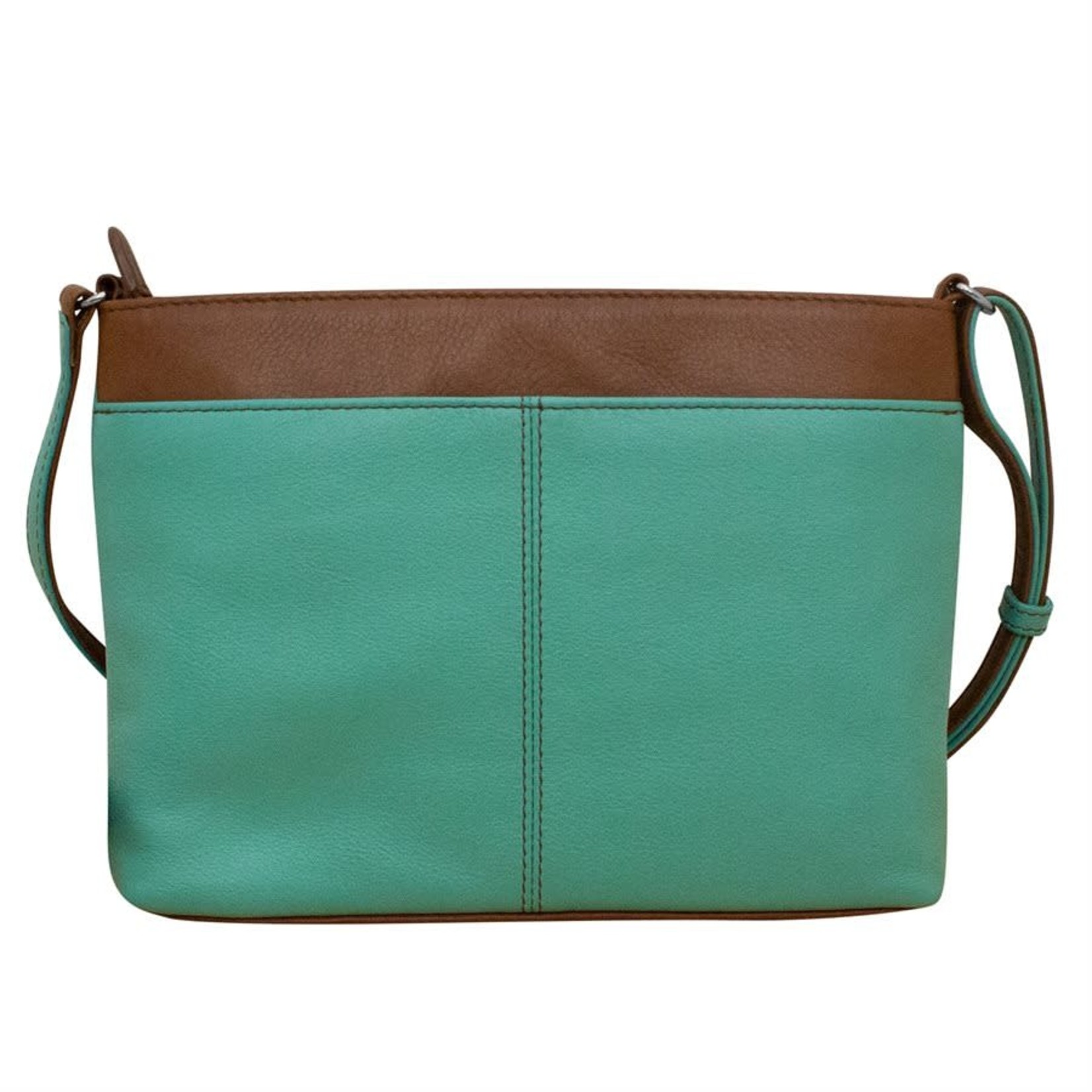 Leather Handbags and Accessories 6592 Turquoise/Toffee - Organizer Crossbody