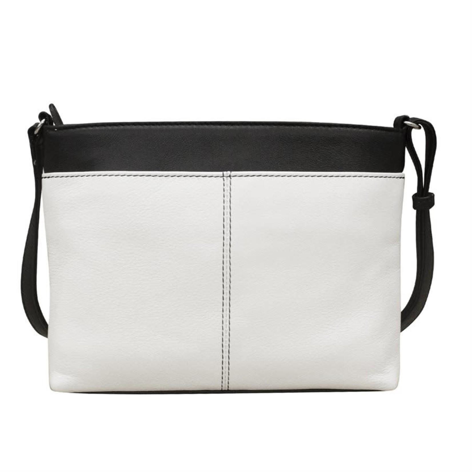 Leather Handbags and Accessories 6592 White/Black - Organizer Crossbody
