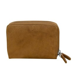 Leather Handbags and Accessories 6714 Antique Saddle - RFID Double Zip Accordion Card Holder