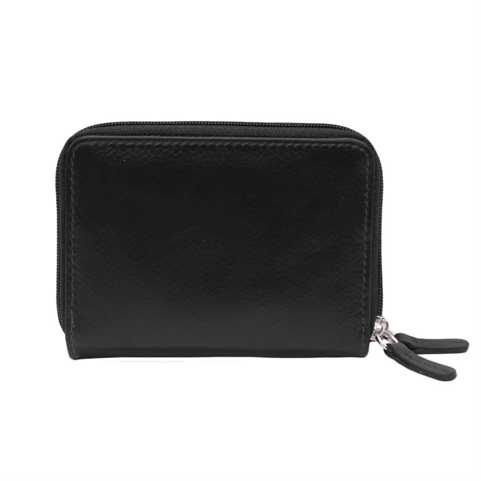 Leather Handbags and Accessories 6714 Black - RFID Double Zip Accordion Card Holder