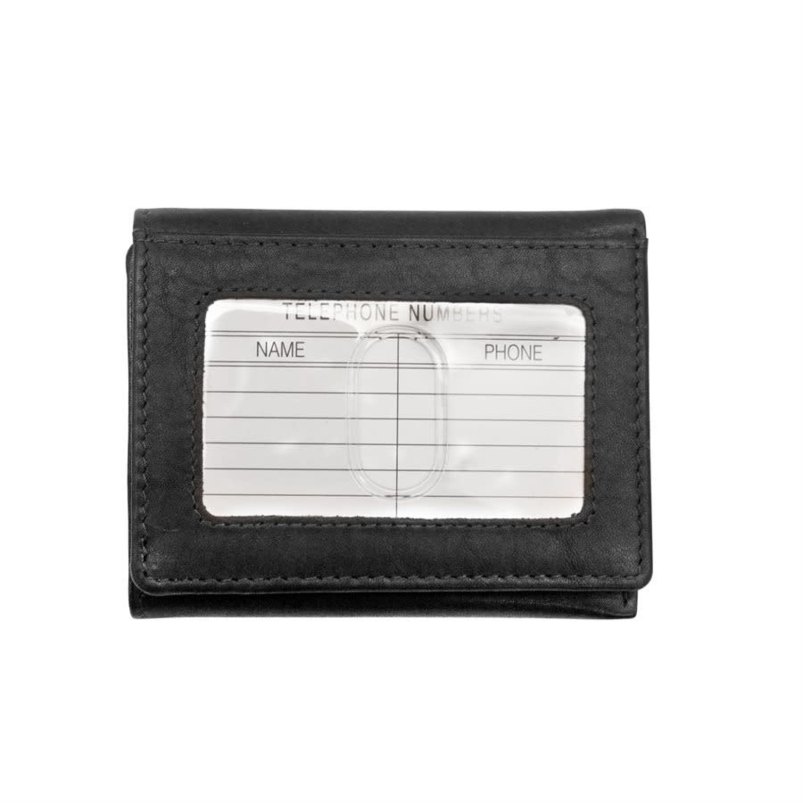 Leather Handbags and Accessories 7130 Black - RFID Trifold Wallet