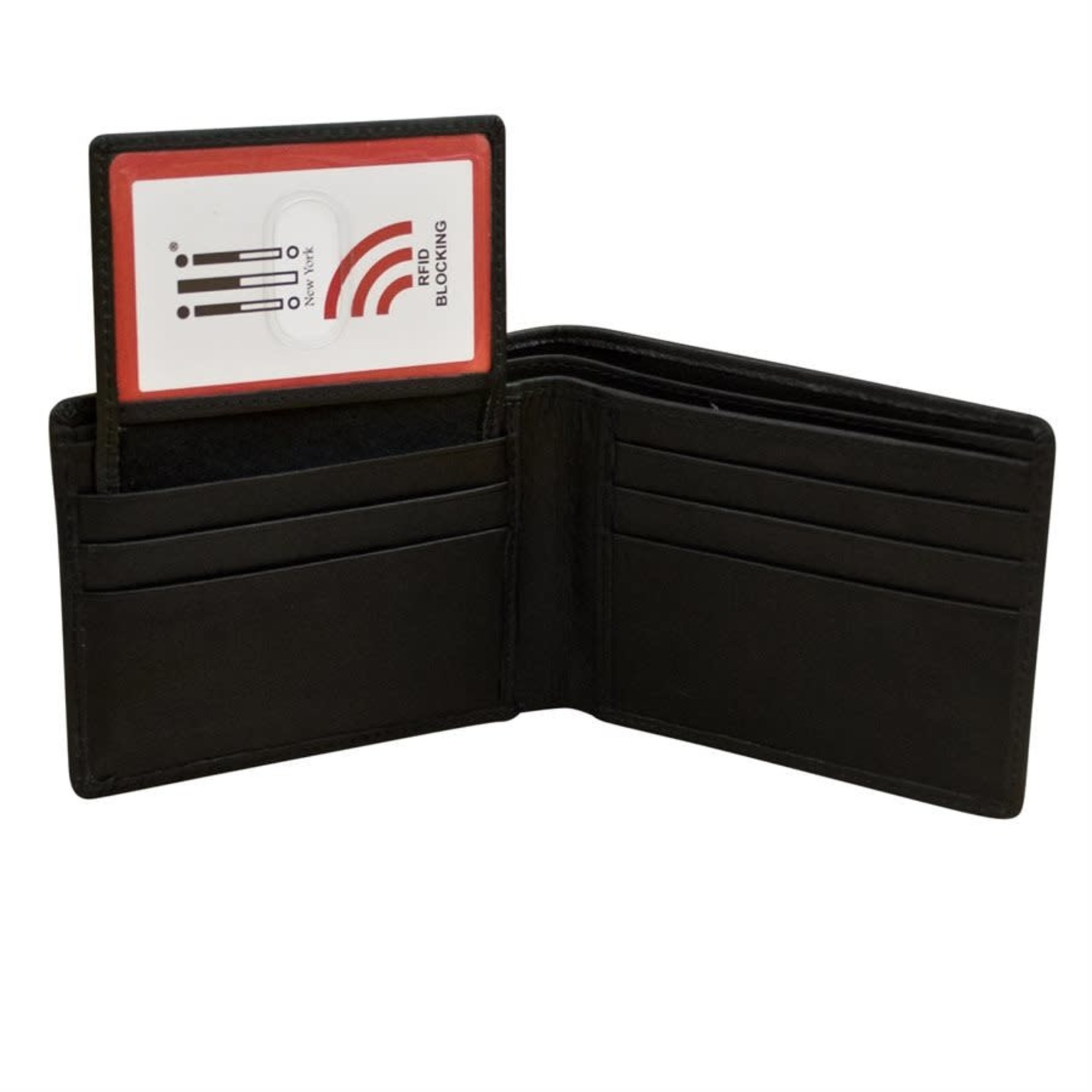 Leather Handbags and Accessories 7150 Black - RFID BiFold Wallet