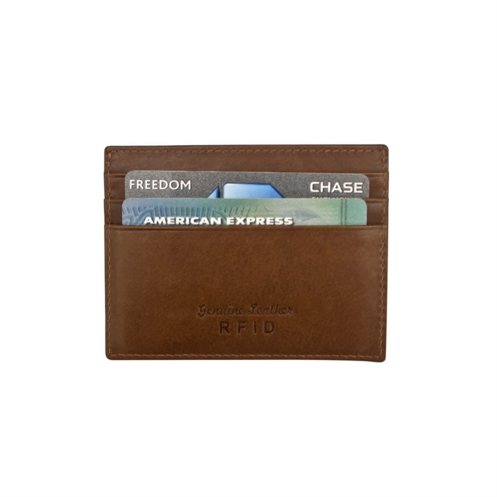 Leather Handbags and Accessories 7202 Toffee - RFID Mini Card Holder