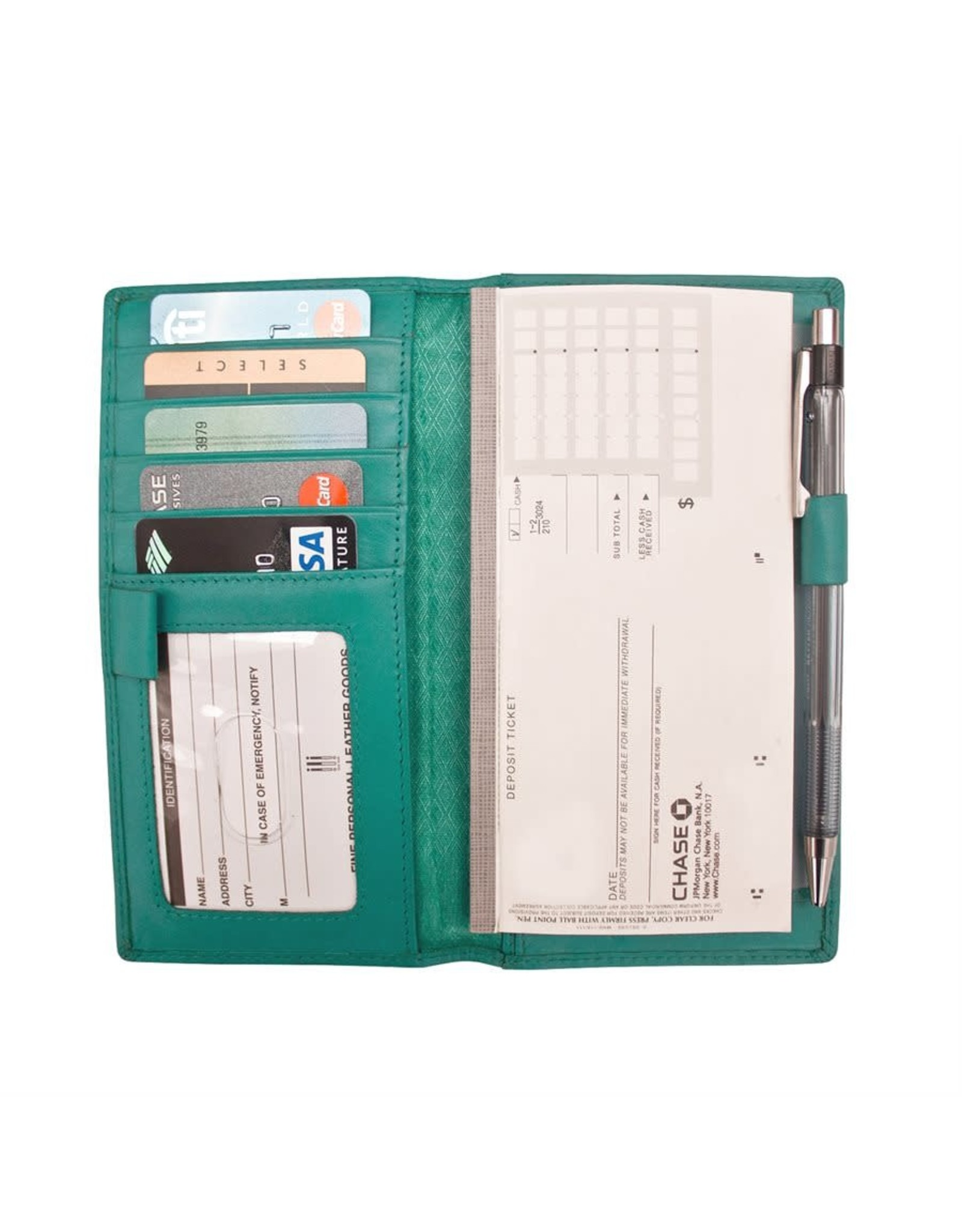 Leather Handbags and Accessories 7406 Aqua - RFID Checkbook Cover
