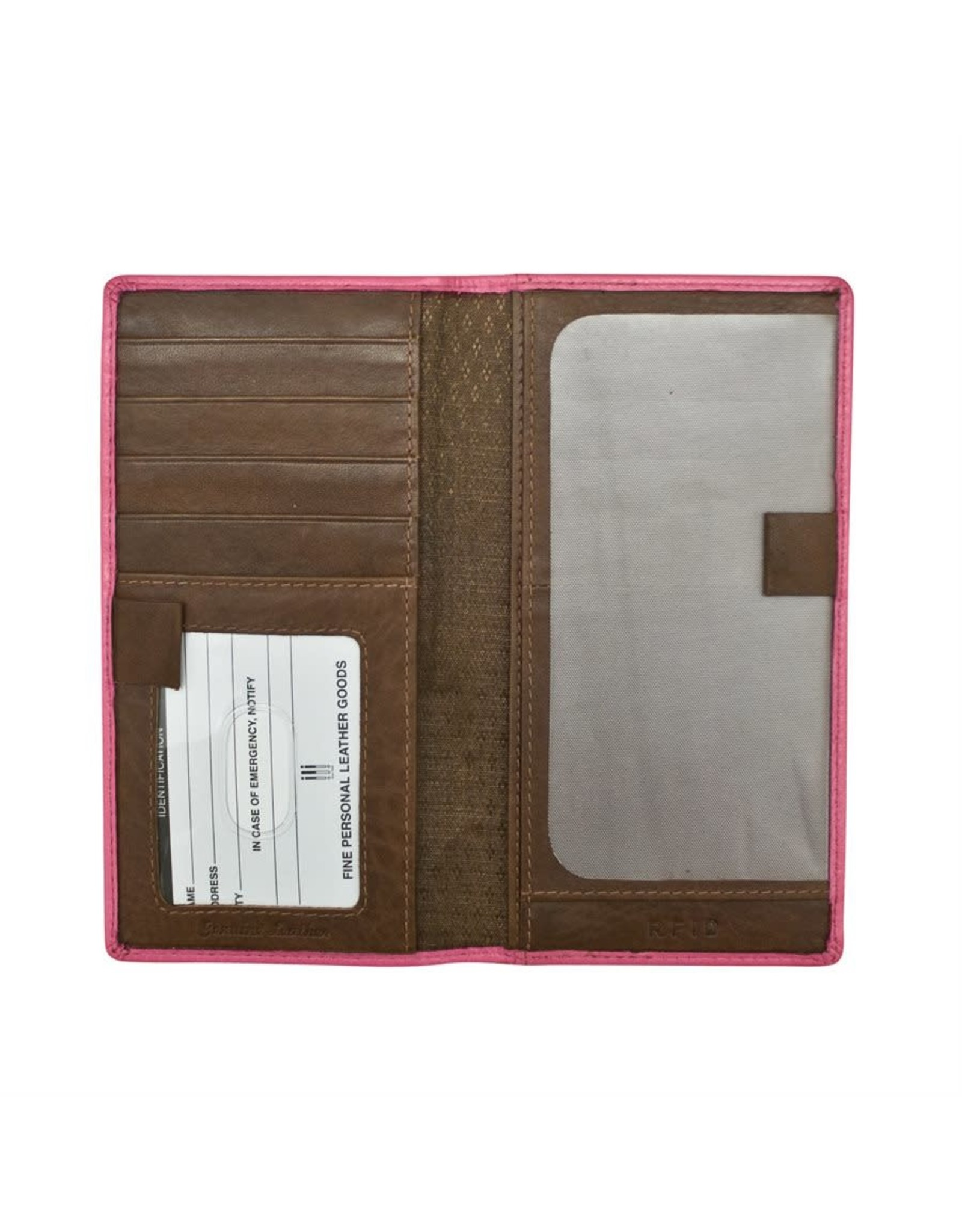 Leather Handbags and Accessories 7406 Hot Pink/Toffee - RFID Checkbook Cover