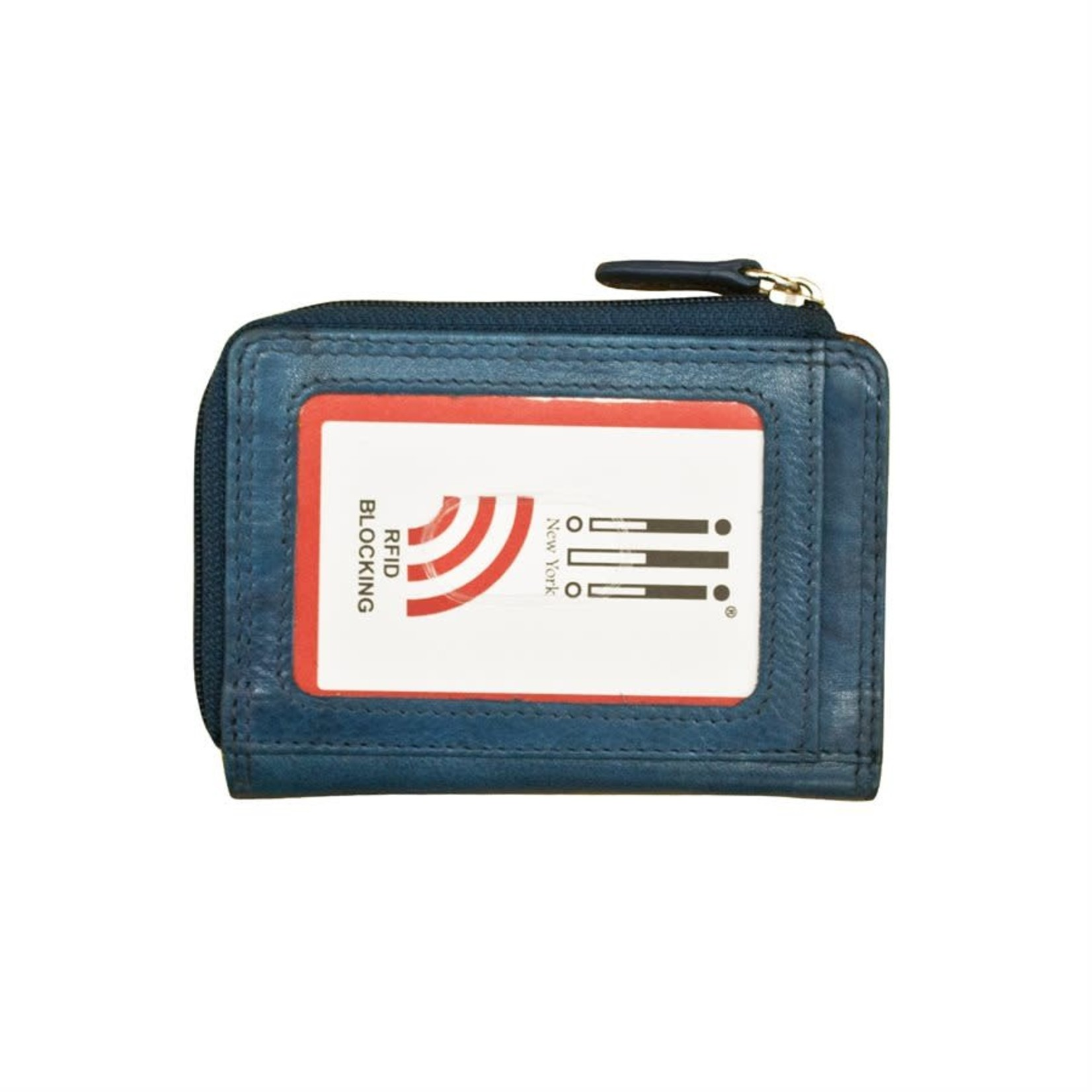 Leather Handbags and Accessories 7411 Jeans Blue - RFID CC ID Holder