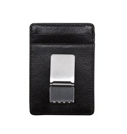 Leather Handbags and Accessories 7717 Black - RFID Money Clip Card Holder