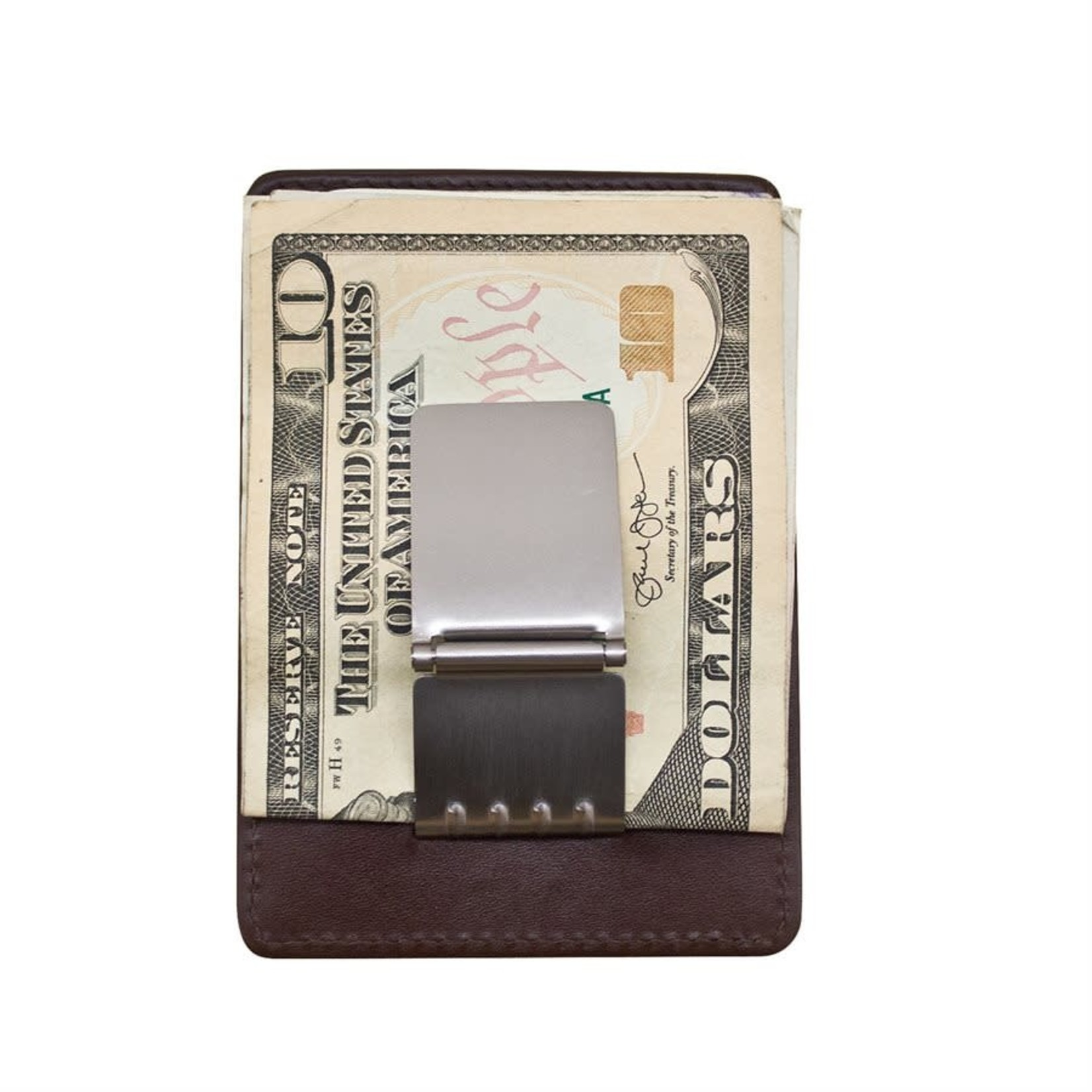 Leather Handbags and Accessories 7717 Brown - RFID Money Clip Card Holder