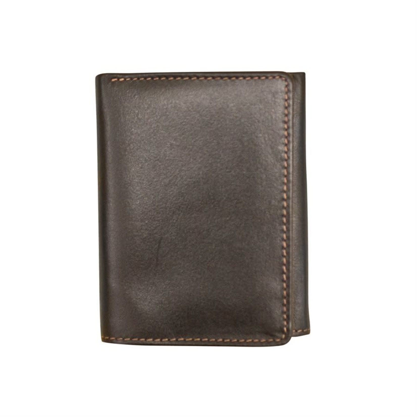 Leather Handbags and Accessories 7730 Black/Toffee - RFID TriFold Wallet