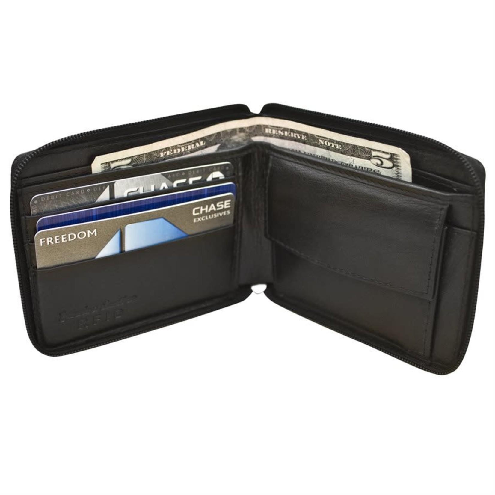 Leather Handbags and Accessories 7765 Black - RFID Zip Around BiFold Men's Wallet