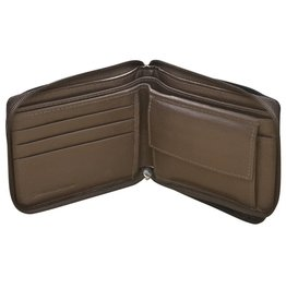 Leather Handbags and Accessories 7765 Brown - RFID Zip Around BiFold Men's Wallet